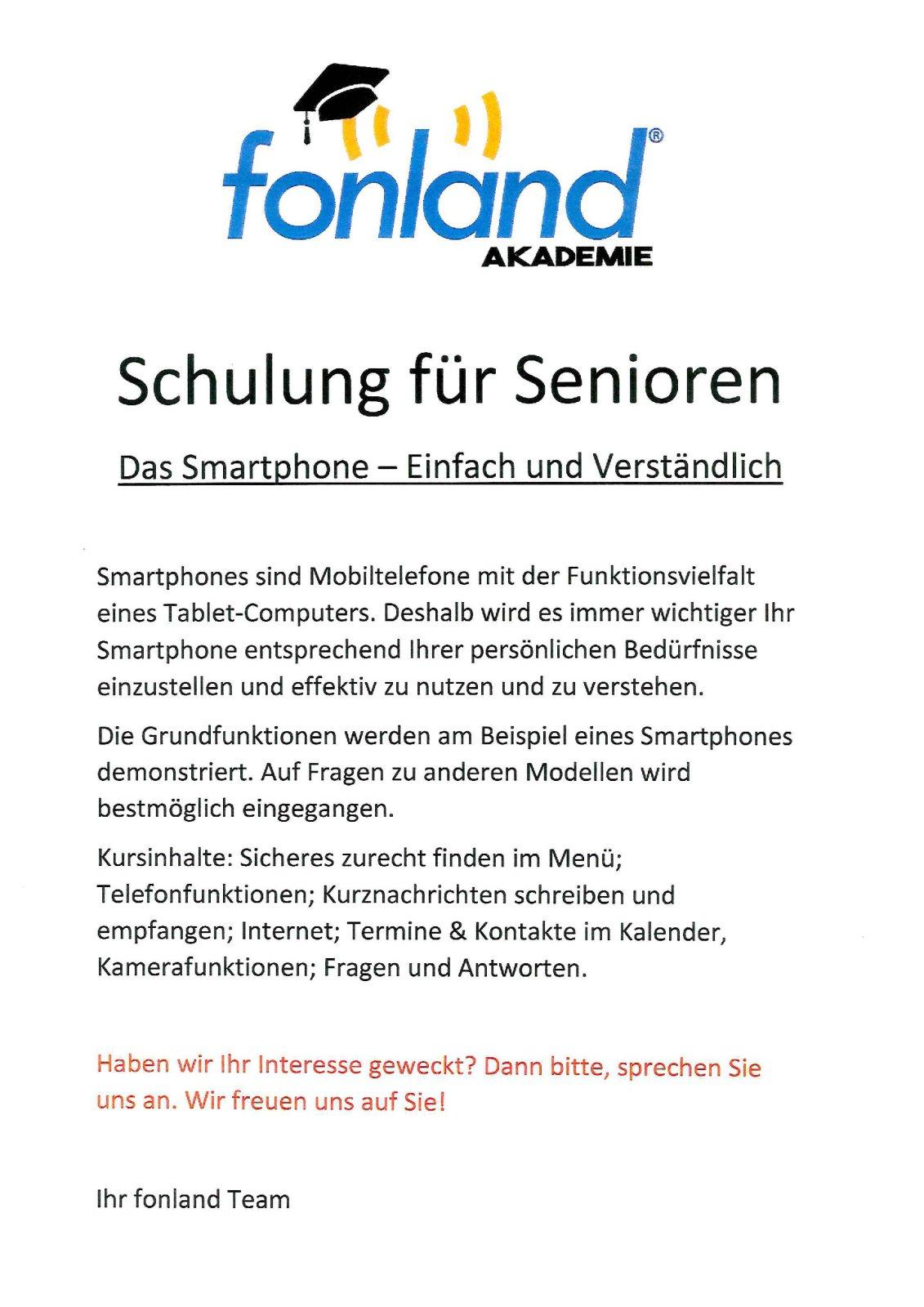 Seniorenschulung Fonland Ebersberg