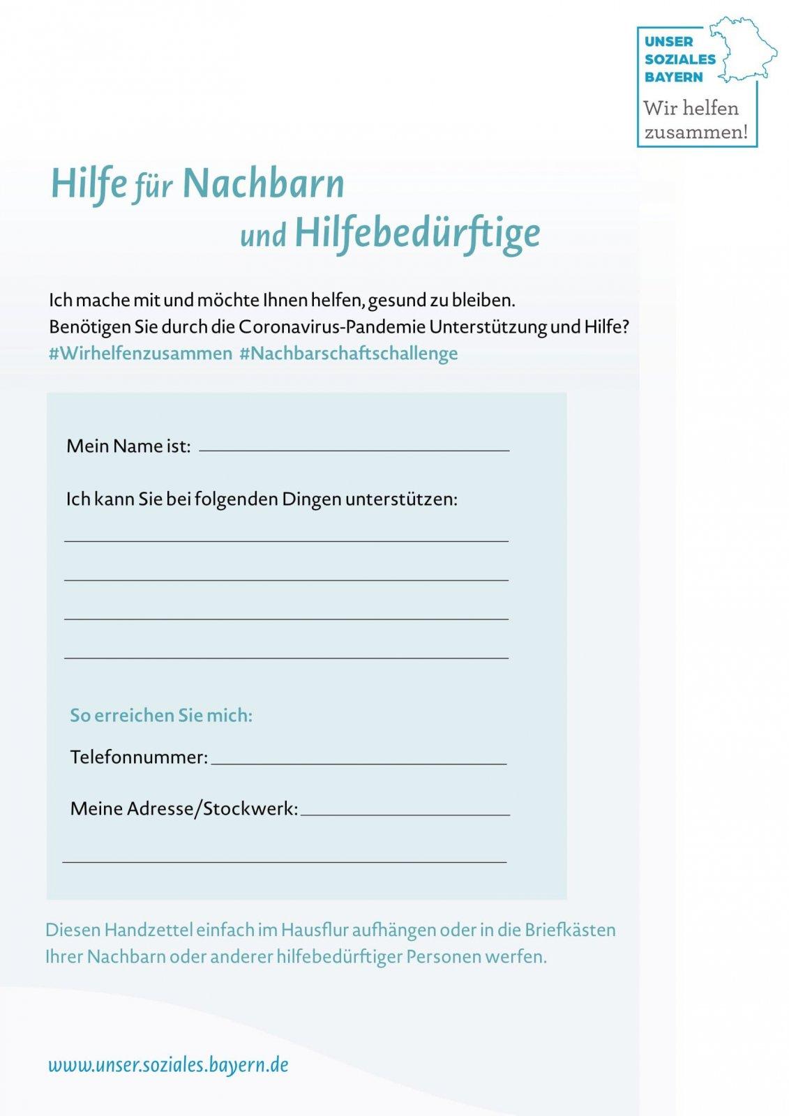 1 Nachbarschafts-Handzettel DINA4 Bf