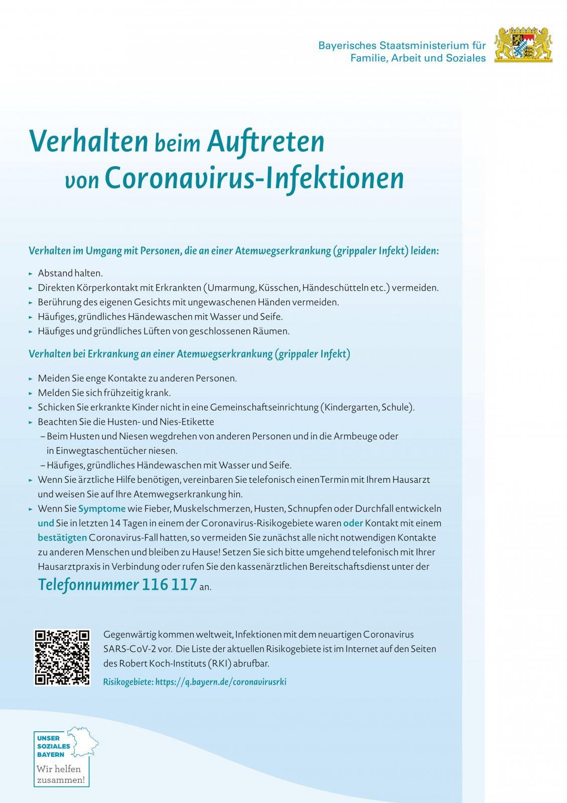 1 Verhaltensempfehlungen Coronavirus Poster A2 Bf